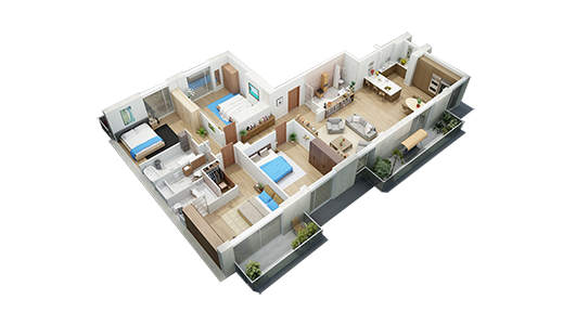 3D view of home interior